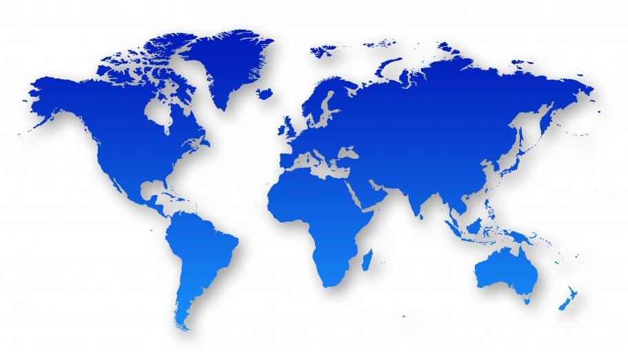 Mapa del mundo azul para la empresa internacional de enfriadoras